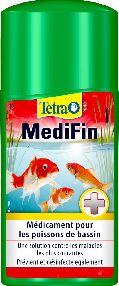 TETRA Pond MediFin 500 ml médicament multi-maladies pour poissons de bassin. Traite jusqu\' à 10000 L