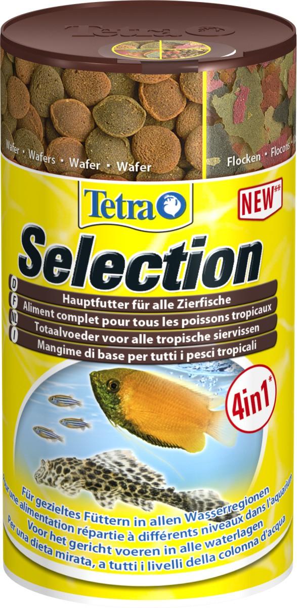 TETRA Selection 100 ml nourritures complètes tous poissons sous 4 formes : Chips, Flocon, Granulés et Pastille