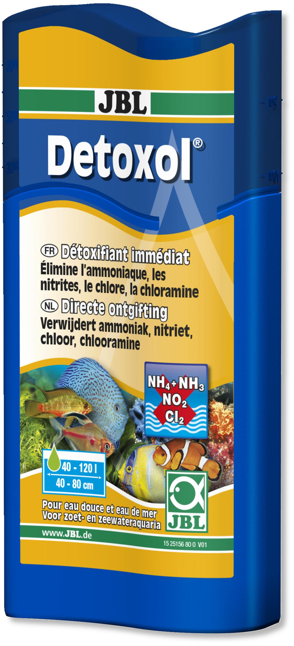 JBL Detoxol 100 ml élimine en 10 minutes les éléments toxiques dans l\'eau en aquarium d\'eau et d\'eau de mer