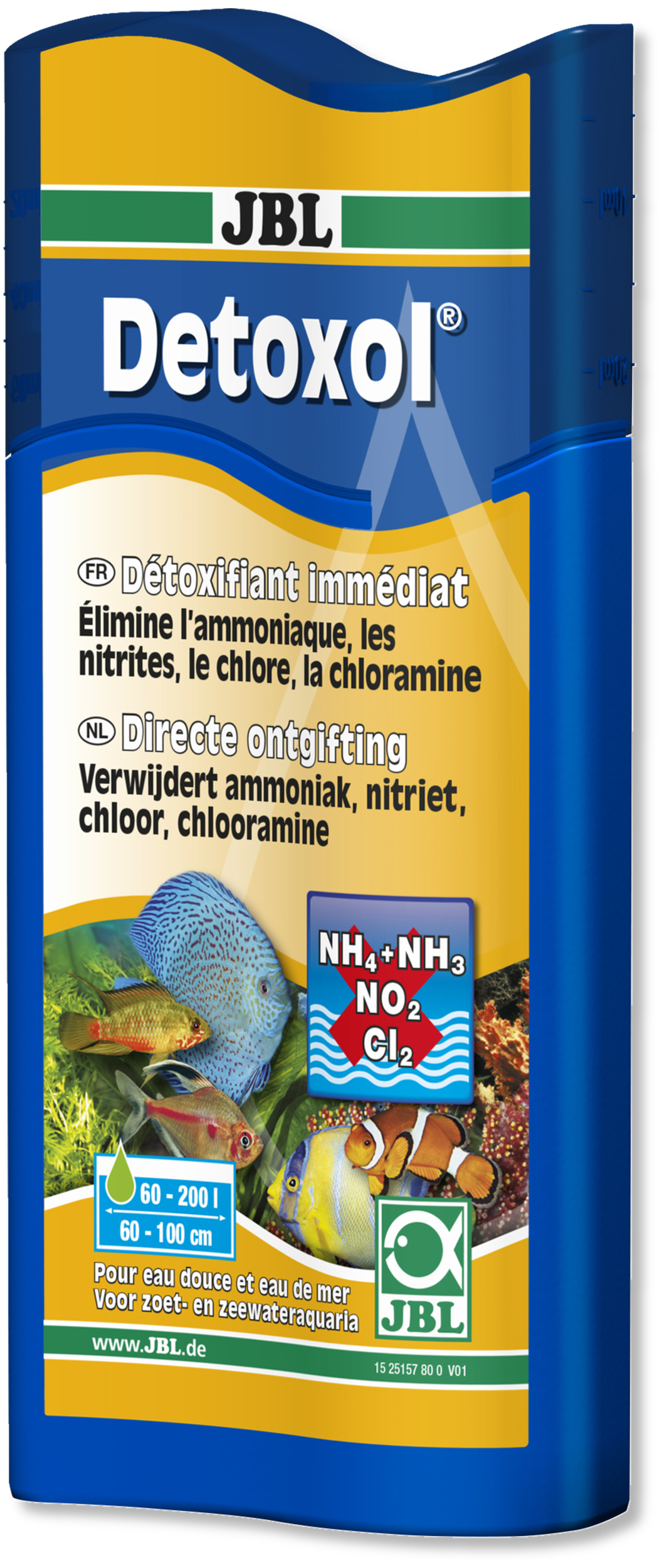 JBL Detoxol 250 ml élimine en 10 minutes les éléments toxiques dans l\'eau en aquarium d\'eau et d\'eau de mer