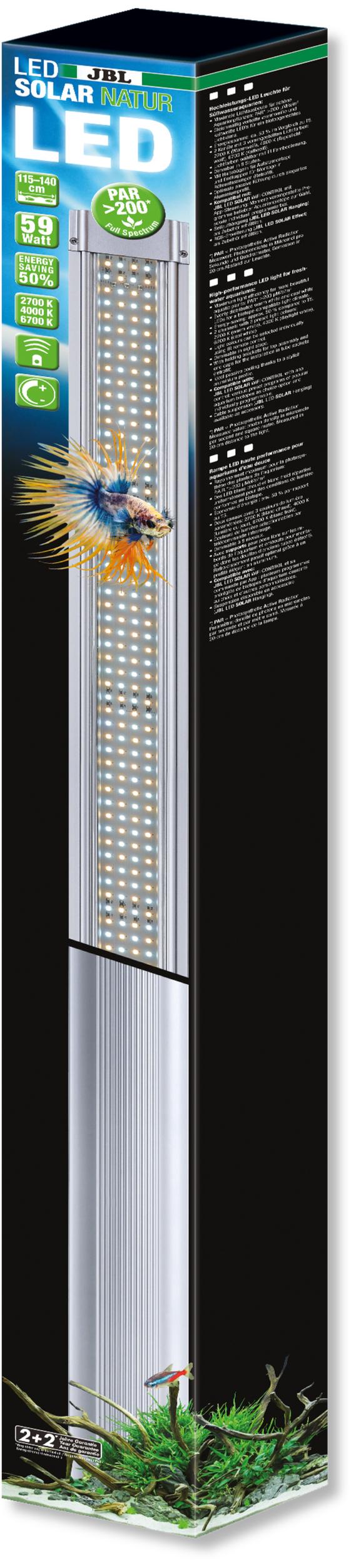 JBL LED Solar Natur 59W rampe aquarium Eau douce de 115 à 140 cm ou remplace tube T5 et T8