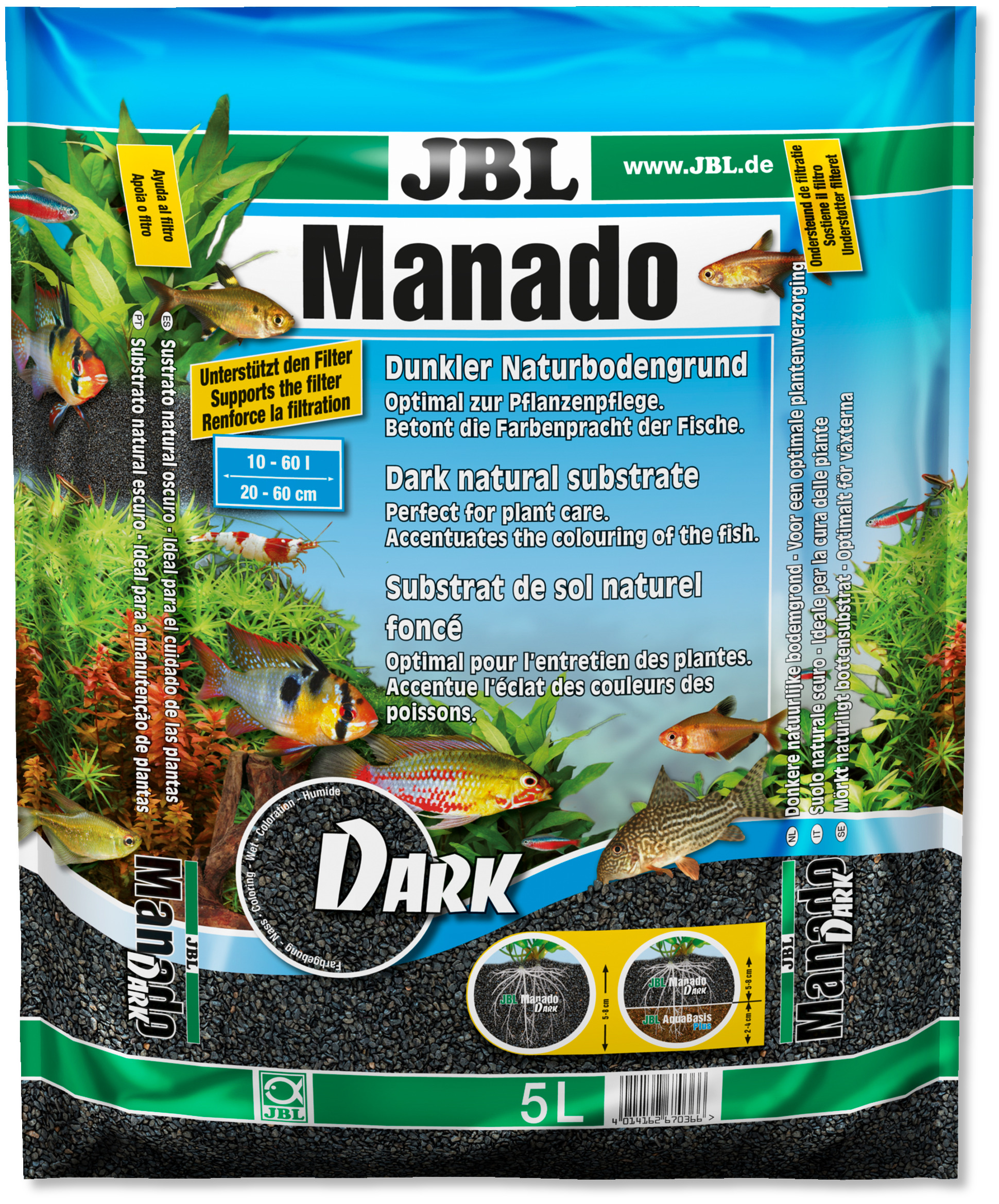 JBL Manado Dark 5L substrat noir tout en un pour décoration et fertilisation en aquarium