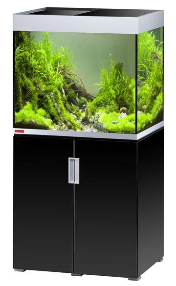 EHEIM Incpiria 200 Noir Brillant / Argent kit aquarium 70 cm 200 L avec meuble et éclairage T5
