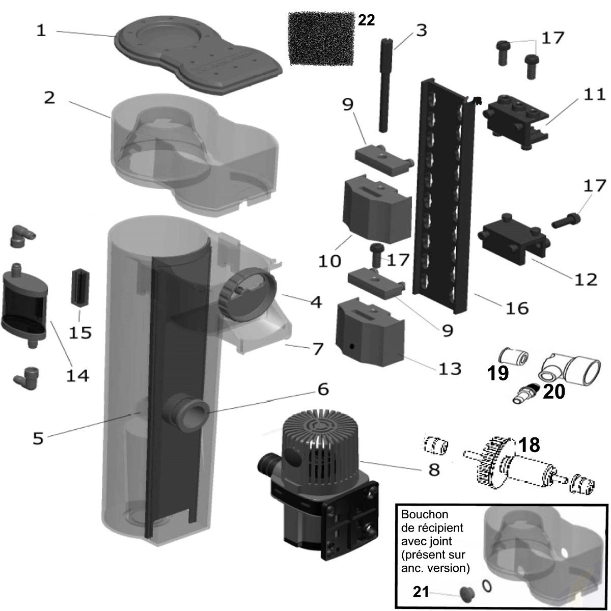 Pièces détachées pour écumeur AQUA MEDIC EVO 500 - 10 Références disponibles