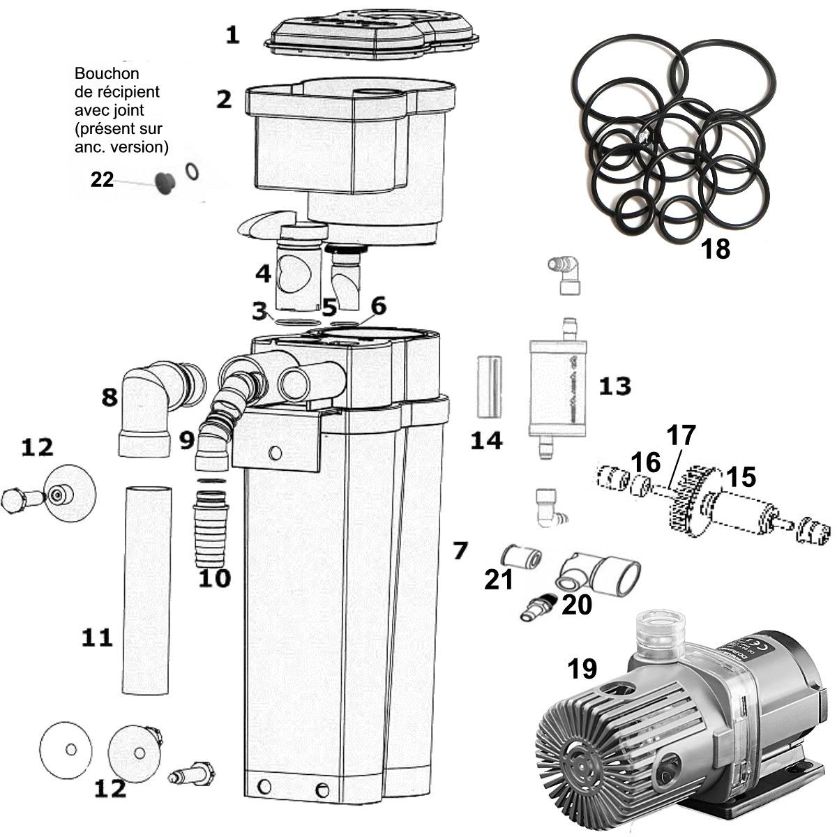 Pièces détachées pour écumeur AQUA MEDIC EVO 1000 - 14 Références disponibles