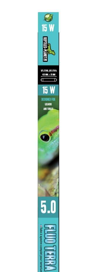 REPTILES PLANET Terra Sunlight 5.0 tube néon T8 15W 45 cm avec 5% d\'UV-B et UV-A pour tortues et lézards