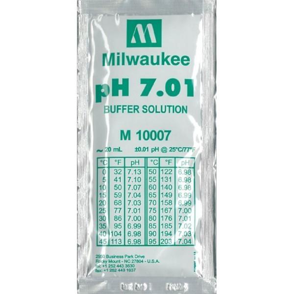 MILWAUKEE Solution d\'étalonnage pH 7.01 20 ml pour électrodes pH et pH-mètre toutes marques