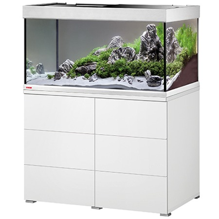 EHEIM Proxima 250 L powerLED+ Blanc Brillant aquarium 100 cm avec meuble et éclairage LEDs 56W