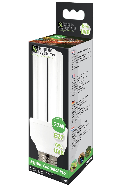 REPTILE SYSTEMS Reptil Compact Pro ampoule 23W E27 D3 + 6% UV-B lézards et tortues