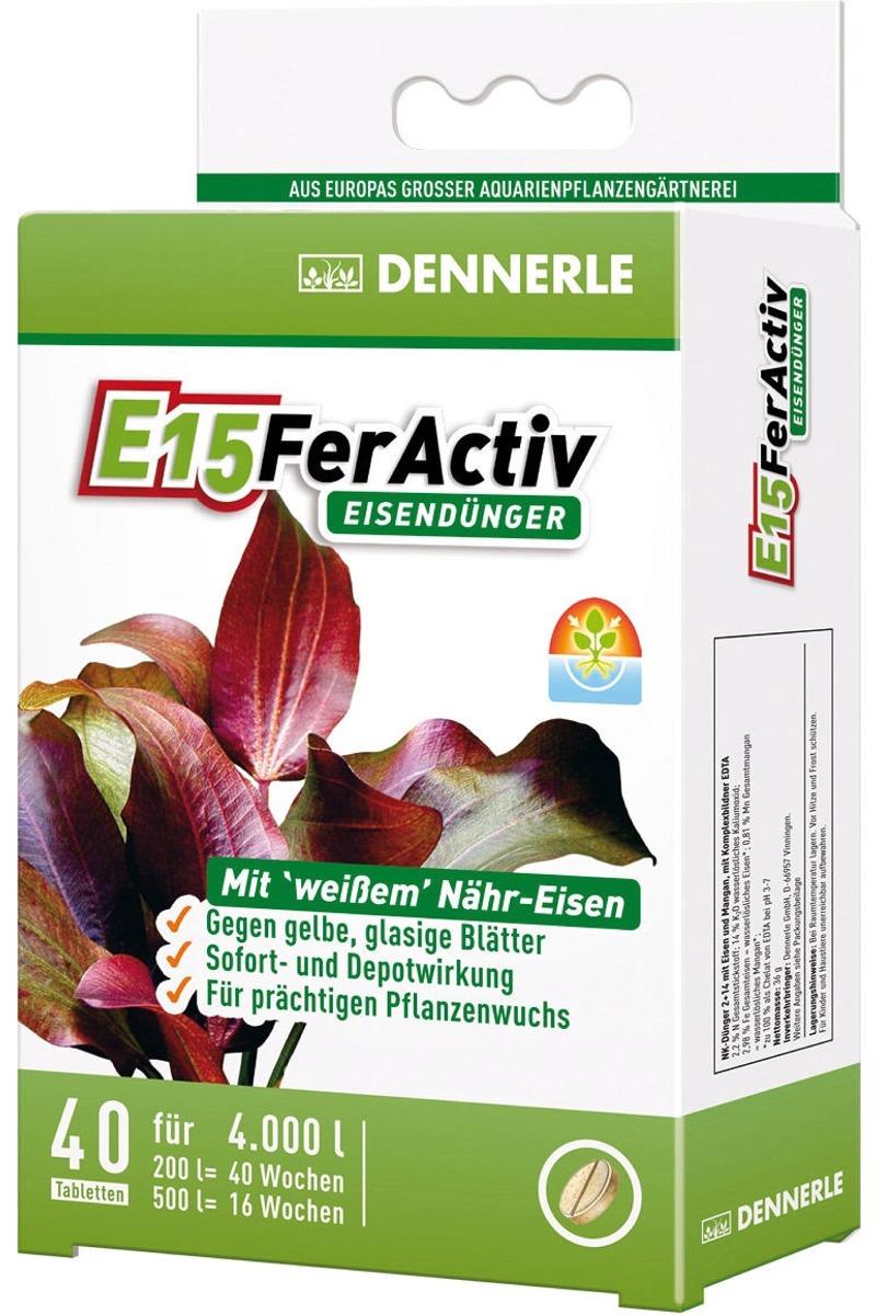 DENNERLE E15 FerActiv 40 comprimés source de Fer blanc concentré pour plantes d\'aquariums. Traite jusqu\'à 4000 L