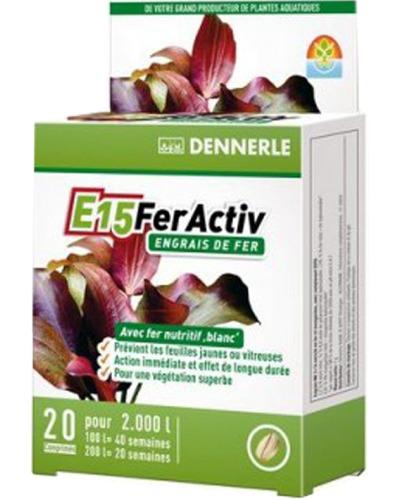 DENNERLE E15 FerActiv 20 comprimés source de Fer blanc concentré pour plantes d\'aquariums. Traite jusqu\'à 2000 L