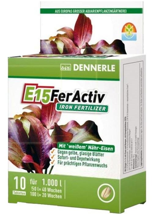 DENNERLE E15 FerActiv 10 comprimés source de Fer blanc concentré pour plantes d\'aquariums. Traite jusqu\'à 1000 L