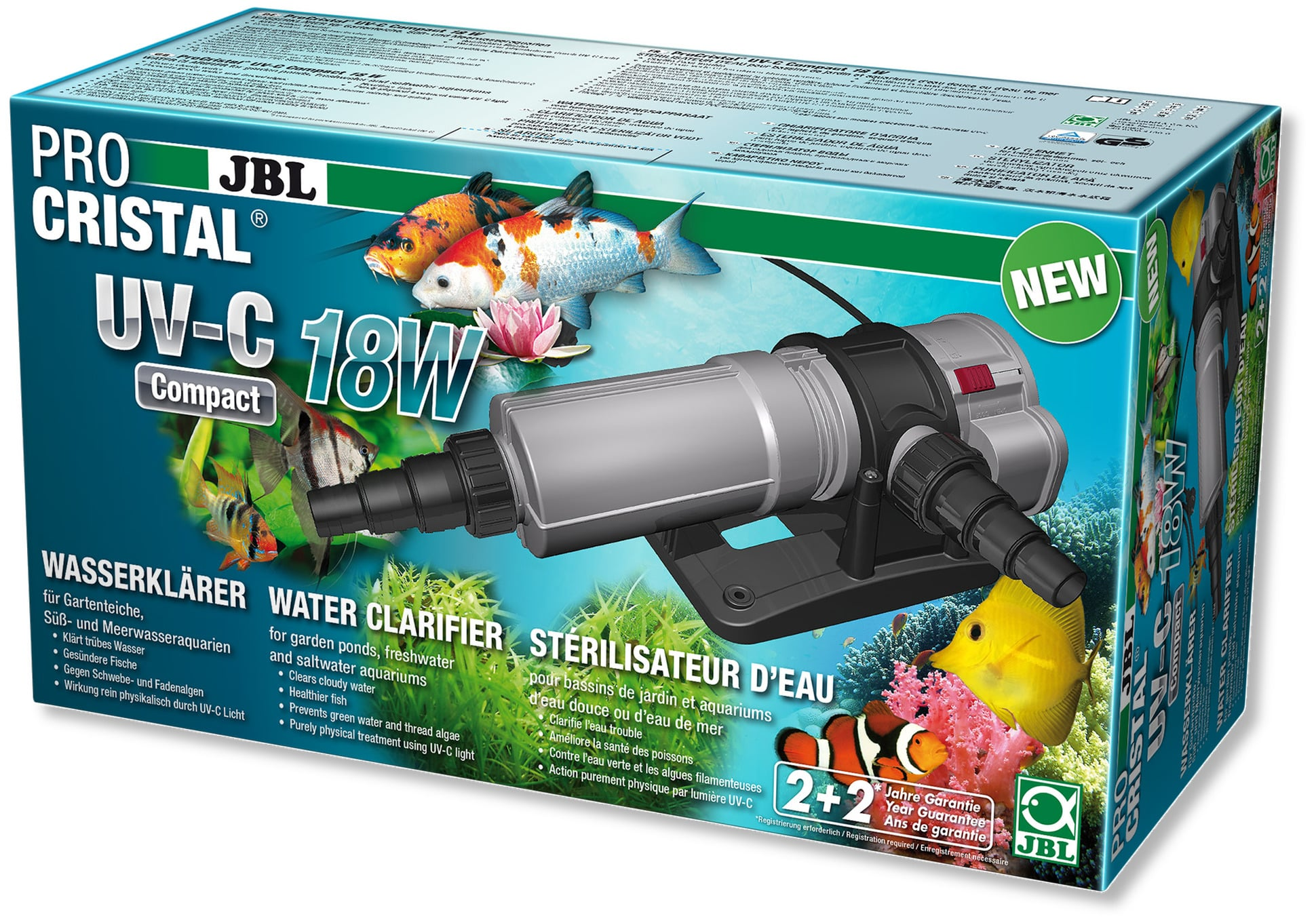 JBL ProCristal Compact UV-C 18 W stérilisateur UV pour aquarium de 200 à 1500 L et bassin jusqu\'à 15000 L