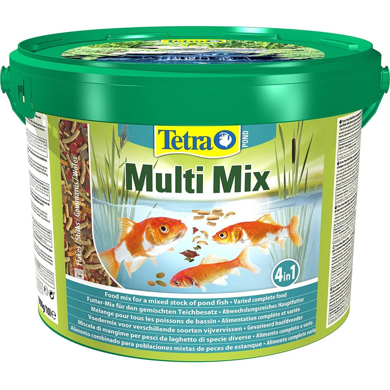 tetra-pond-multimix-10l-aliment-complet-compose-de-flocons-sticks-petits-disques-nutritifs-et-gammarus-pour-tous-poissons-de-bassin