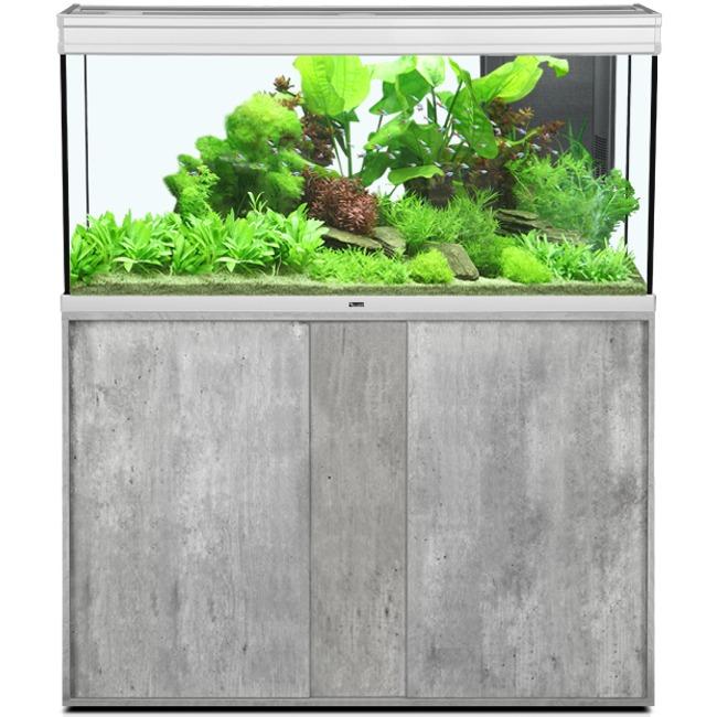 AQUATLANTIS Élégance Expert LED 120 Alu/Béton aquarium équipé 293 L dimensions 121 x 40,4 x 60 cm avec meuble