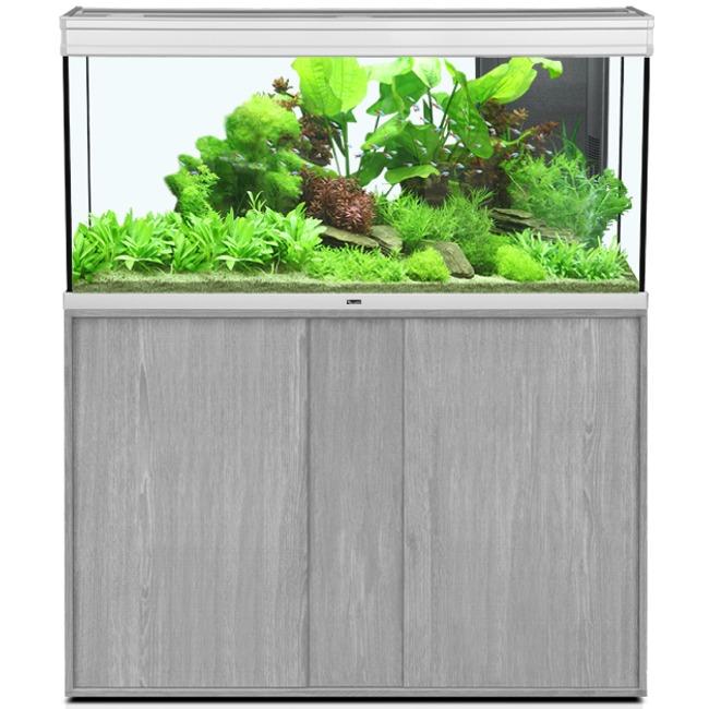 AQUATLANTIS Élégance Expert LED 120 Alu/Frêne Gris aquarium équipé 293 L dimensions 121 x 40,4 x 60 cm avec meuble