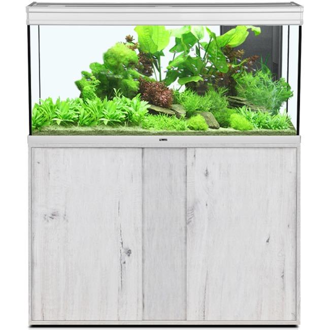 AQUATLANTIS Élégance Expert LED 120 Alu/Chêne Blanc aquarium équipé 293 L dimensions 121 x 40,4 x 60 cm avec meuble