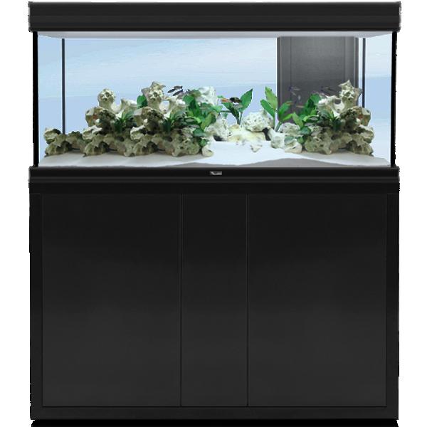 AQUATLANTIS Fusion LED 2.0 120 x 40 x 60 cm Noir aquarium 288 L avec meuble