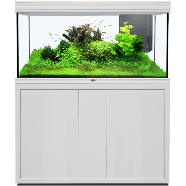 AQUATLANTIS Fusion LED 2.0 120 x 50 x 70 cm Blanc aquarium 420 L avec meuble