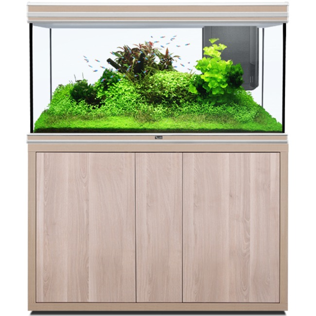 AQUATLANTIS Fusion LED 2.0 120 x 50 x 70 cm Noyer aquarium 420 L avec meuble