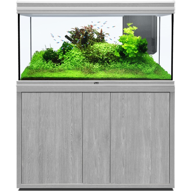 AQUATLANTIS Fusion LED 2.0 120 x 50 x 70 cm aspect Frêne Gris aquarium 420 L avec meuble