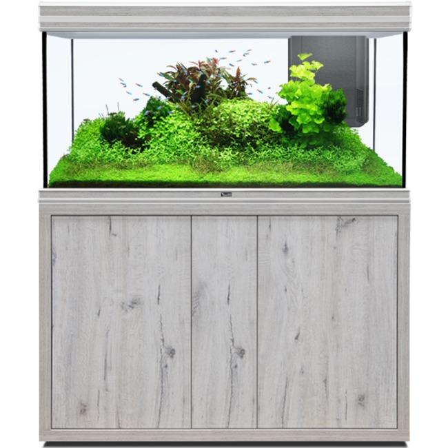 AQUATLANTIS Fusion LED 2.0 120 x 50 x 70 cm aspect Chêne Blanc aquarium 420 L avec meuble