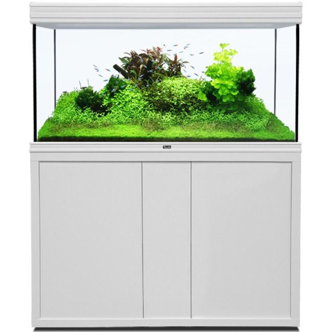 AQUATLANTIS Fusion LED 2.0 120 x 60 x 75 cm Blanc aquarium 540 L avec meuble