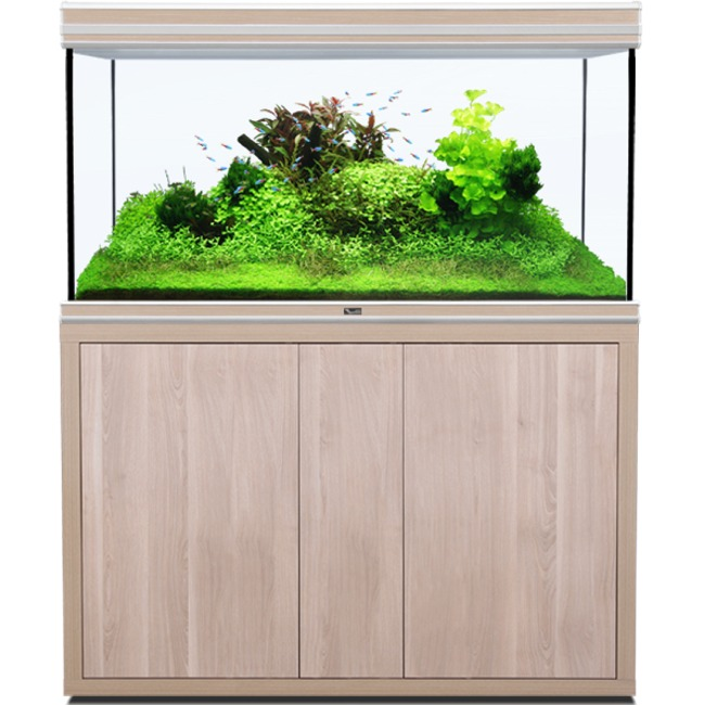 AQUATLANTIS Fusion LED 2.0 120 x 60 x 75 cm Noyer aquarium 540 L avec meuble