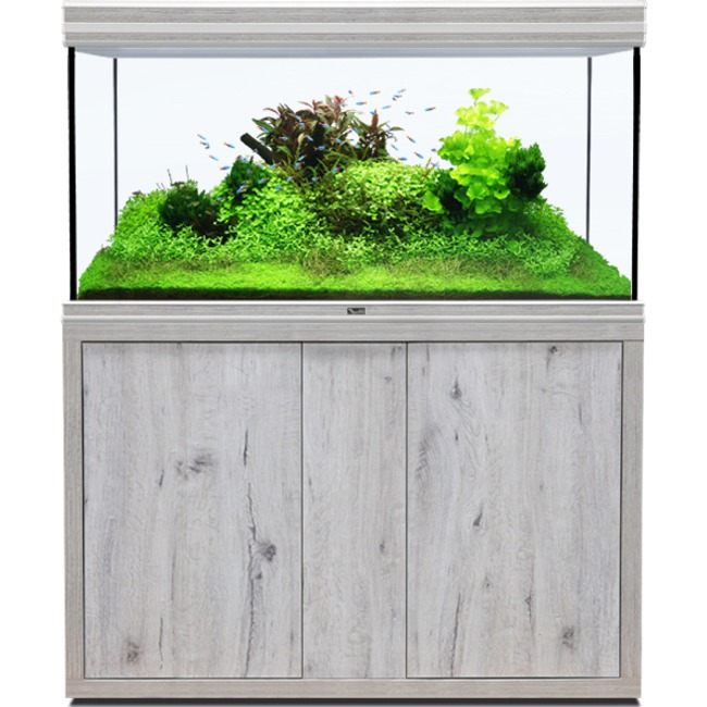 AQUATLANTIS Fusion LED 2.0 120 x 60 x 75 cm aspect Chêne Blanc aquarium 540 L avec meuble