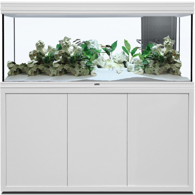 AQUATLANTIS Fusion LED 2.0 150 x 50 x 70 cm Blanc aquarium 525 L avec meuble