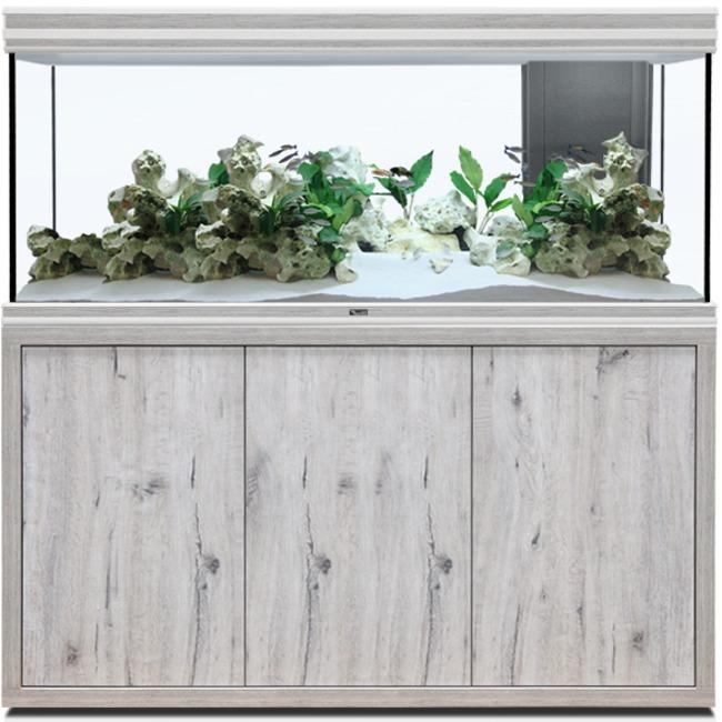 AQUATLANTIS Fusion LED 2.0 150 x 50 x 70 cm aspect Chêne Blanc aquarium 525 L avec meuble
