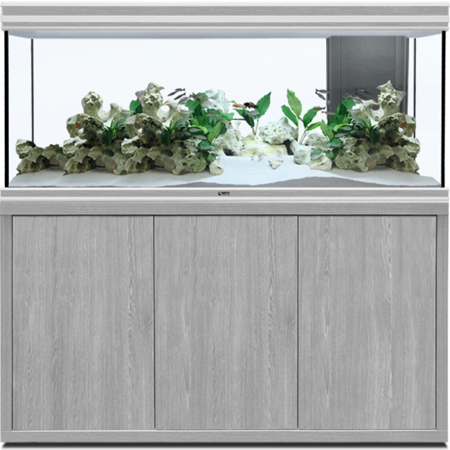 AQUATLANTIS Fusion LED 2.0 150 x 50 x 70 cm aspect Frêne Gris aquarium 525 L avec meuble