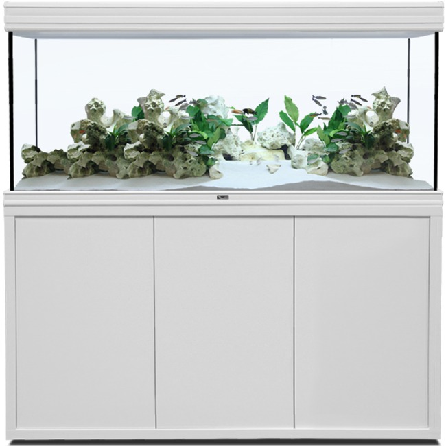 AQUATLANTIS Fusion LED 2.0 150 x 60 x 75 cm Blanc aquarium 675 L avec meuble