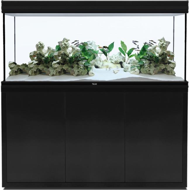 AQUATLANTIS Fusion LED 2.0 150 x 60 x 75 cm Noir aquarium 675 L avec meuble