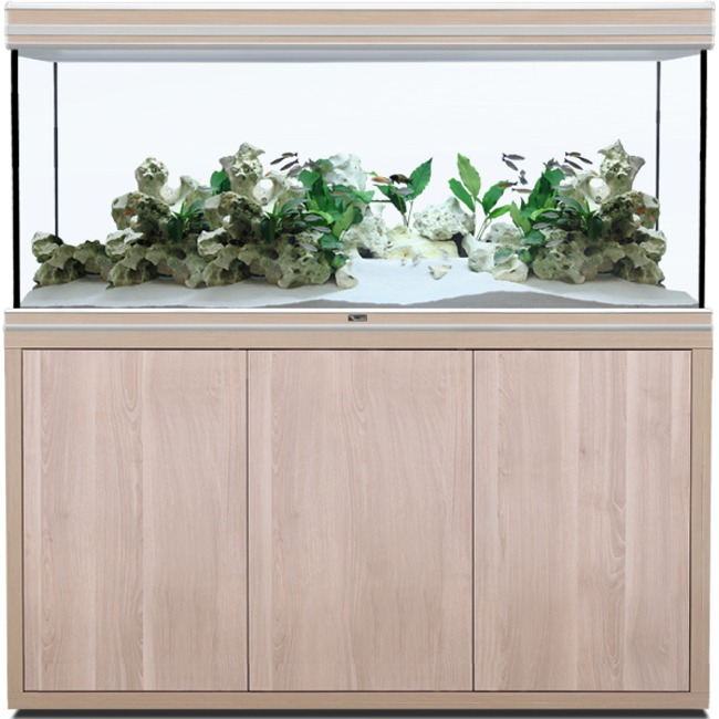 AQUATLANTIS Fusion LED 2.0 150 x 60 x 75 cm Noyer aquarium 675 L avec meuble