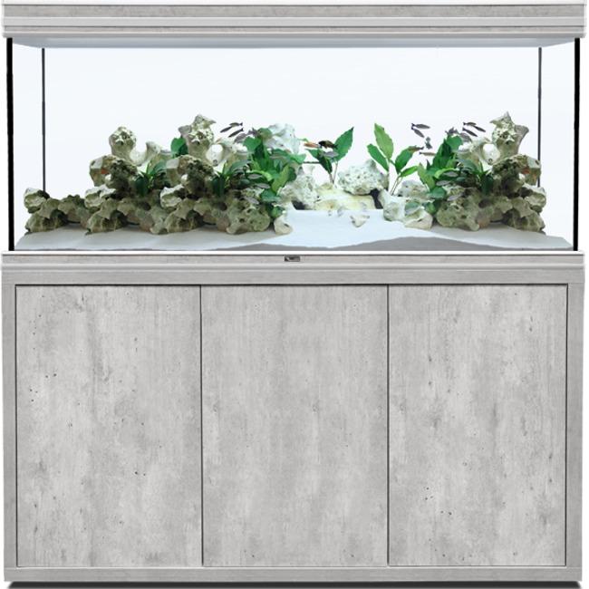 AQUATLANTIS Fusion LED 2.0 150 x 60 x 75 cm aspect Béton aquarium 675 L avec meuble