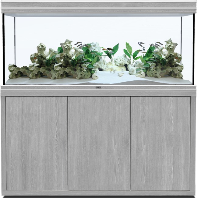 AQUATLANTIS Fusion LED 2.0 150 x 60 x 75 cm aspect Frêne Gris aquarium 675 L avec meuble