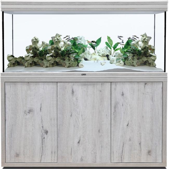 AQUATLANTIS Fusion LED 2.0 150 x 60 x 75 cm aspect Chêne Blanc aquarium 675 L avec meuble
