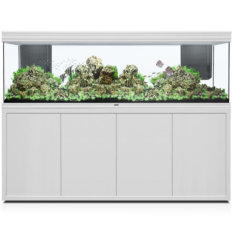 AQUATLANTIS Fusion LED 2.0 200 x 60 x 70 cm Blanc aquarium 840 L avec meuble