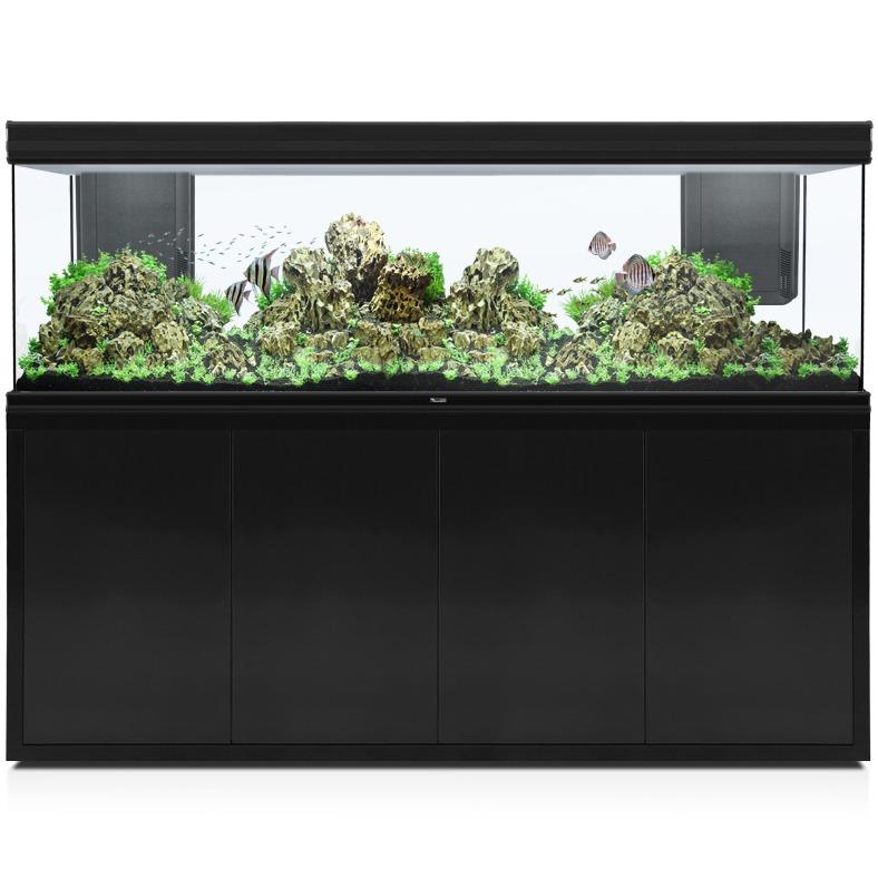 AQUATLANTIS Fusion LED 2.0 200 x 60 x 70 cm Noir aquarium 840 L avec meuble