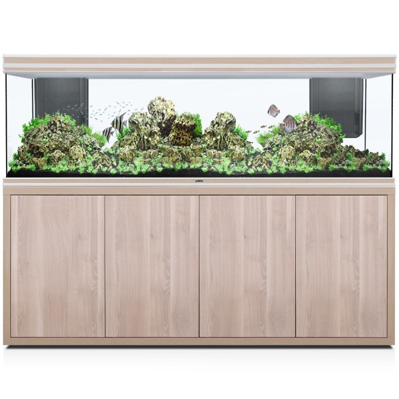 AQUATLANTIS Fusion LED 2.0 200 x 60 x 70 cm Noyer aquarium 840 L avec meuble