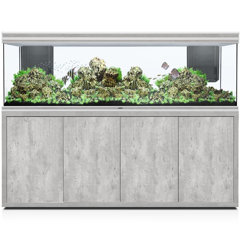 AQUATLANTIS Fusion LED 2.0 200 x 60 x 70 cm aspect Béton aquarium 840 L avec meuble