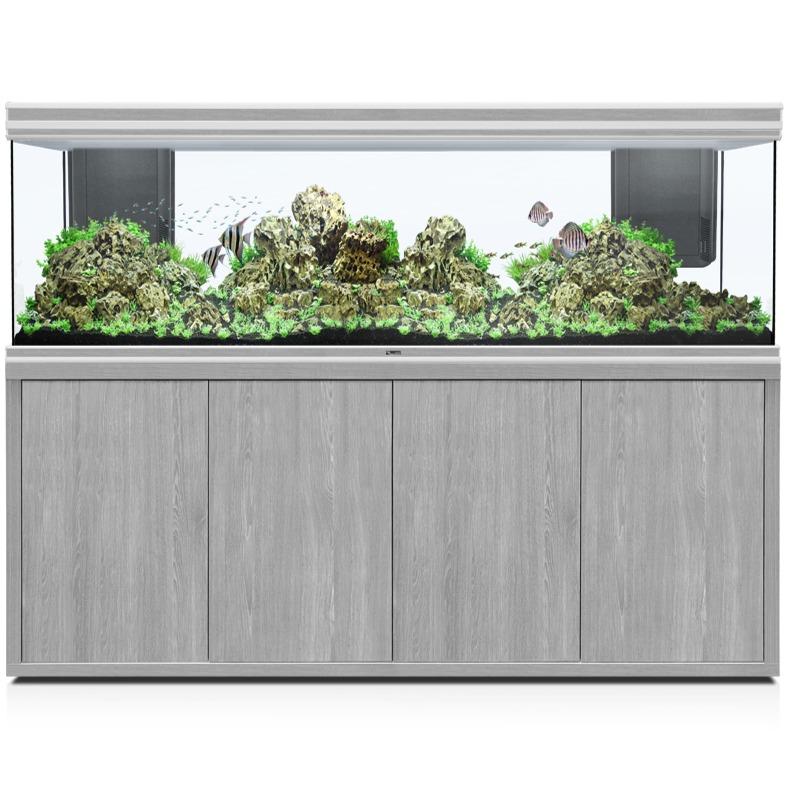 AQUATLANTIS Fusion LED 2.0 200 x 60 x 70 cm aspect Frêne Gris aquarium 840 L avec meuble