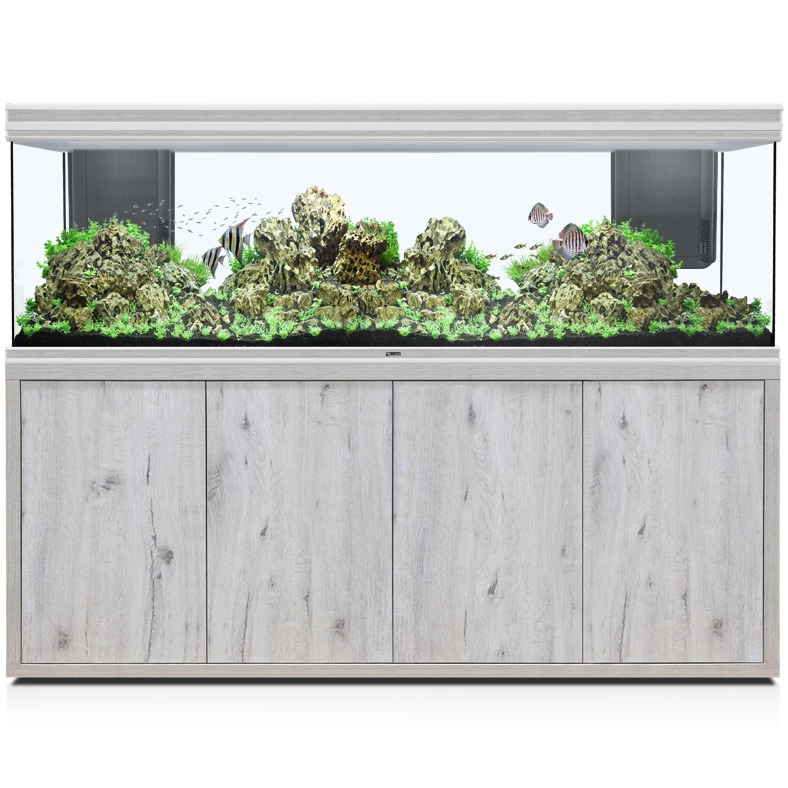 AQUATLANTIS Fusion LED 2.0 200 x 60 x 70 cm aspect Chêne Blanc aquarium 840 L avec meuble