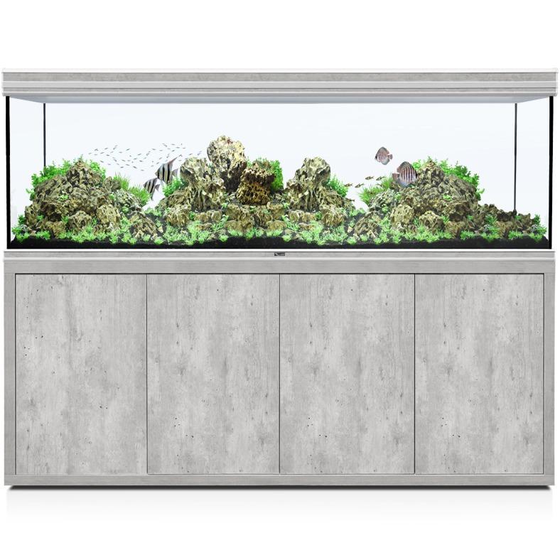 AQUATLANTIS Fusion LED 2.0 200 x 70 x 75 cm aspect Béton aquarium 1050 L avec meuble