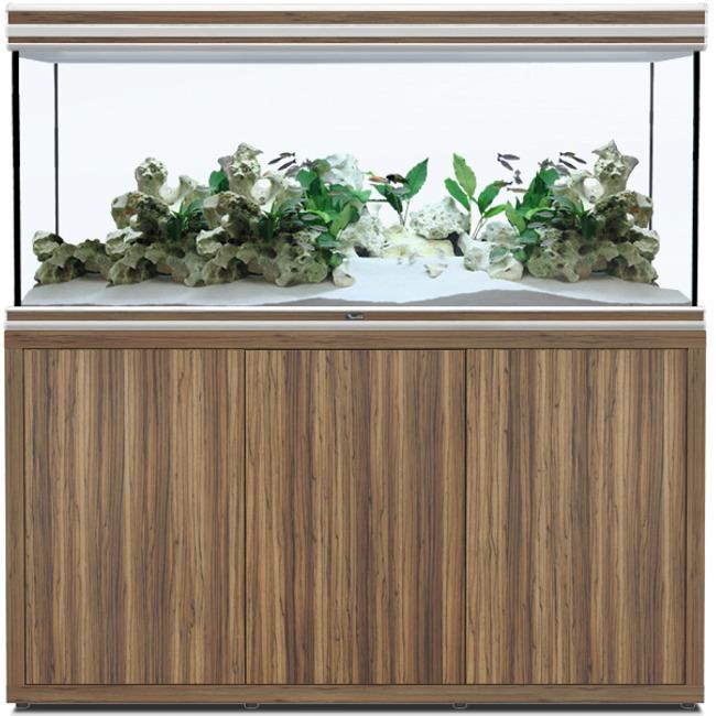 AQUATLANTIS Fusion LED 2.0 150 x 60 x 75 cm Zebrano aquarium 675 L avec meuble