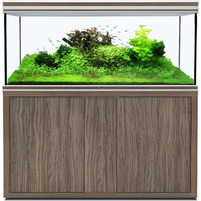 AQUATLANTIS Fusion LED 2.0 150 x 60 x 75 cm Satin Olive aquarium 675 L avec meuble