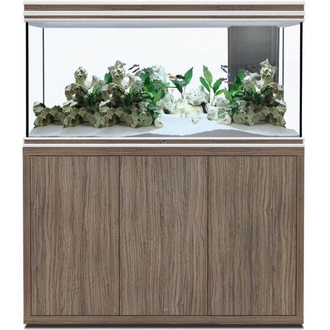 AQUATLANTIS Fusion LED 2.0 120 x 50 x 70 cm Satin Olive aquarium 420 L avec meuble