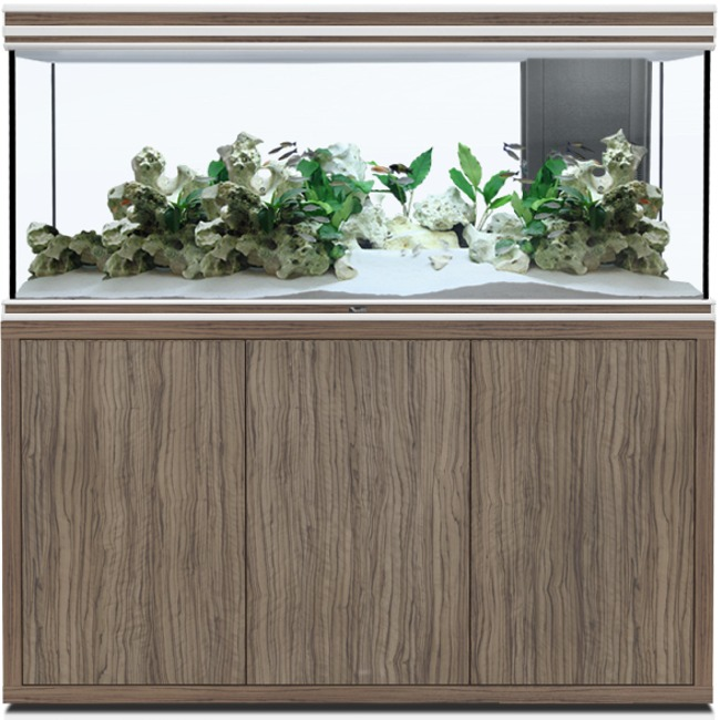 AQUATLANTIS Fusion LED 2.0 150 x 50 x 70 cm Satin Olive aquarium 525 L avec meuble