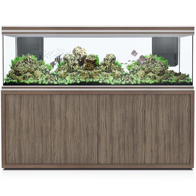 AQUATLANTIS Fusion LED 2.0 200 x 60 x 70 cm Satin Olive aquarium 840 L avec meuble